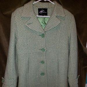 NWT Nordstrom Winter Coat in Green herringbone XL